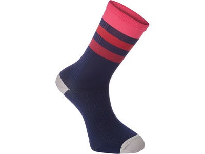 Madison RoadRace Premio extra long sock, hoops ink navy/bright berry